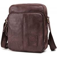 BAIGIO Umhängetasche Herren Leder Schultertasche Vintage Herrentasche Crossbody Bag für Arbeit Reise Alltagsleben Dunkelbraun Schuhe & Handtaschen