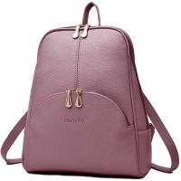 Nevenka Rucksack Damen Cityrucksack Daypack Tagesrucksack PU Leder Zweiwege Reißverschluss Elegantes Design Violett Koffer Rucksäcke & Taschen
