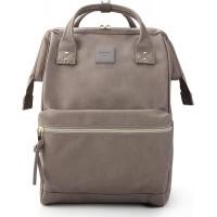 Kah&Kee Leder Rucksack Wickeltasche mit Laptopfach Travel School für Damen Grau Groß Computer & Zubehör