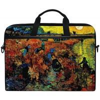 Ahomy 14 Zoll Laptoptasche Vincent Van Gogh Canvas Stoff Laptop Tasche Business Handtasche mit Schultergurt für Damen und Herren Koffer Rucksäcke & Taschen