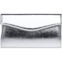 Caspar TA426 stylisch elegante Damen Metallic Clutch Tasche Abendtasche mit langer Kette Farbesilber GrößeOne Size Schuhe & Handtaschen