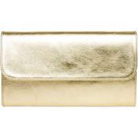 Caspar TL779 Damen echt Leder Metallic Clutch Tasche Abendtasche Farbegold GrößeOne Size Schuhe & Handtaschen