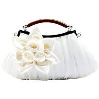 ERGEOB Damen Clutch Tasche mit Blumen für Event Party Hochzeit Theater Kino Weiss Schuhe & Handtaschen