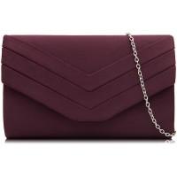 Milisente Abendtasche für Damen Veloursleder Umschlagtasche Abend-Geldbörsen Crossbody-Schulter-Clutch Rot burgunderfarben Medium Schuhe & Handtaschen