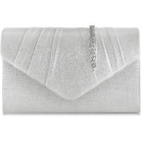 Milisente Damen-Abendtasche Veloursleder plissiert Clutch Silber 807 PU-Leder Silber Medium Schuhe & Handtaschen