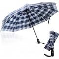 Regenschirm dritter Boden – 116 8 cm Automatischer Offen und Schließen umgekehrter Regenschirm kompakter Rückwärtsschirm winddicht groß leicht UV-Reiseschirm Blue White Pattern 46 Inch Koffer Rucksäcke & Taschen