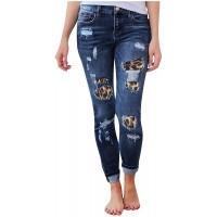 Vectry Damen Jeanshose Slim Fit Skinny Fit Jeans Sommer Stretch Denim Pants Löcher Zerrissen Bleistifthosen Straight Leg Denim Hose Freizeithosen Bekleidung