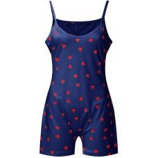 XXYsm Damen Nachtwäsche Langarm One Piece Pyjamas Functional Buttoned Flap Erwachsene Spielanzug Drucken Jumpsuit V-Ausschnitt Homewear Bekleidung