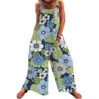 Damen Latzhose mit Blumendruck Lässig mit Taschen Sommerhose Baumwollleinen Weite Beine Overalls Boho Baggy Pants Loose Fit Bekleidung