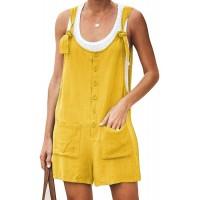 HANMAX Damen Latzhose Baumwolle Leinen Jumpsuit mit Träger Retro Overalls Sommerhose Lässig Trägerhose Freizeithose Bekleidung