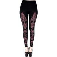 Wild Star Hearts Monogram Baroque Leggings Damen Schwarz Goth Punk Leggins Hose mit Violett Druck Bekleidung