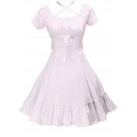 Antaina Weiß Baumwolle Rüsche Nackenstreifen Klassiker viktorianisch Knielang Elegant Lolita Cosplay Kleid Bekleidung