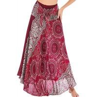 Frauen 2 in 1 Maxirock Boho Hippie Kleider Indischer Langer Rock Böhmen Sommerkleid Strand Tanzkleid Tube Top Kleid Weinrot Einheitsgröße Bekleidung