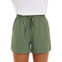 SMENG Damen Normallack lose beiläufige Hosen mit Taschen Workout Kordelzug Shorts Lounge für Sommer Grün M Bekleidung