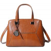 Coolives Damen Tasche Kleine Handtasche Henkeltasche Umhängetasche Schultertasche aus Leder Braun EINWEG Schuhe & Handtaschen