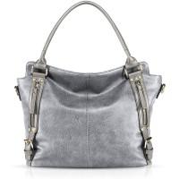 NICOLE & DORIS Damen handtaschen Stilvolle Damen Hobo Umhängetaschen mit großer Kapazität Schultertasche aus PU-Leder Silber Schuhe & Handtaschen
