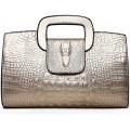 Tisdaini® Damenhandtaschen Mode Kroko Prägung Schultertaschen PU Leder Shopper Umhängetaschen Golden Schuhe & Handtaschen