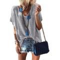 GARYOB Damen Sommer T-Shirt V-Ausschnitte Loose Kurzarm Blusen Oversize Shirt Oberteile Bekleidung