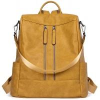 BROMEN Rucksack Damen Anti Diebstahl Rucksack Damenrucksack aus Leder Rucksackhandtasche Tagesrucksack für Frauen Mädchen Gelb Schuhe & Handtaschen