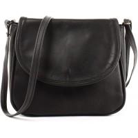 LECONI kleine Umhängetasche Damentasche Schultertasche Festivaltasche Leder 22x18x6cm schwarz LE3047-wax Schuhe & Handtaschen